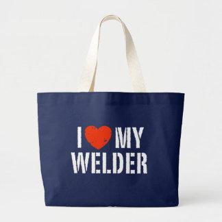 I Love My Welder Jumbo Tote Bag