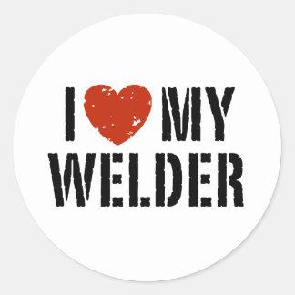 I Love My Welder Round Sticker