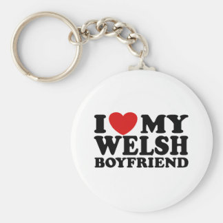 I Love My Welsh Boyfriend Basic Round Button Key Ring