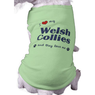 I Love My Welsh Collies Multiple Dogs Pet Tshirt