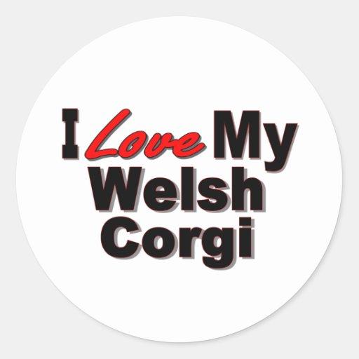 I Love My Welsh Corgi Dog Gifts and Apparel Sticker
