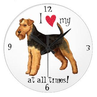 I Love my Welsh Terrier Wall Clocks