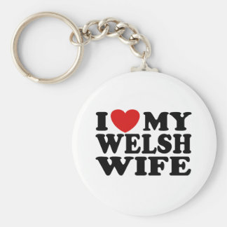 I Love My Welsh Wife Basic Round Button Key Ring
