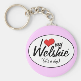 I Love My Welshie (It's a Dog) Basic Round Button Key Ring