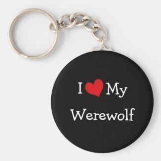 I Love My Werewolf Basic Round Button Key Ring