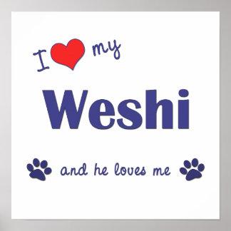 I Love My Weshi Male Dog Print