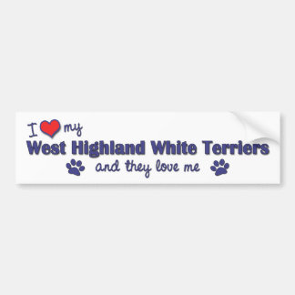 I Love My West Highland White Terrier (Multi Dogs) Bumper Sticker