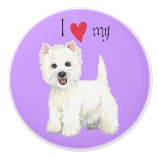 I Love my Westie Ceramic Knob