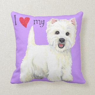 I Love my Westie Throw Pillow