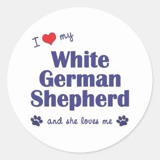 I Love My White German Shepherd (Female Dog) Round Sticker