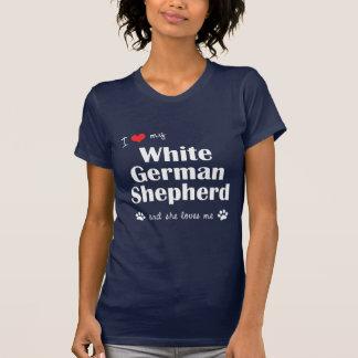 I Love My White German Shepherd Female Dog T-shirts
