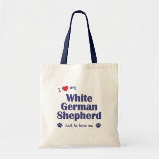 I Love My White German Shepherd (Male Dog) Tote Bag