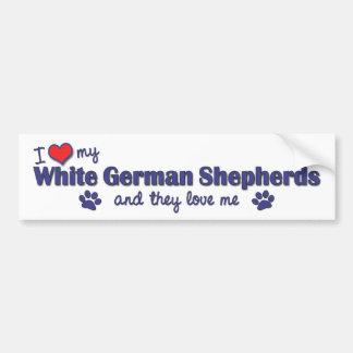 I Love My White German Shepherds (Multiple Dogs) Car Bumper Sticker