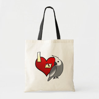 I Love my Whiteface Cockatiel Tote Bag