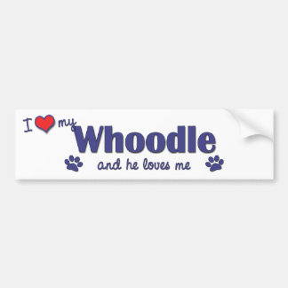 I Love My Whoodle (Male Dog) Bumper Sticker
