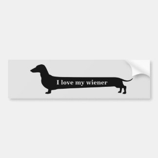 I love my wiener dachshund bumpersticker bumper sticker