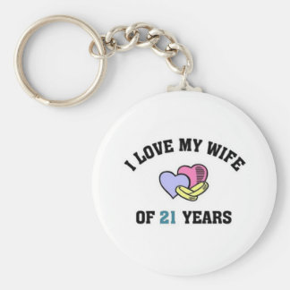 I love my wife of 21 years basic round button key ring