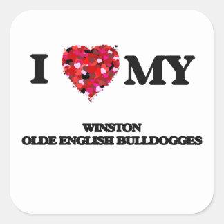 I love my Winston Olde English Bulldogge Square Sticker