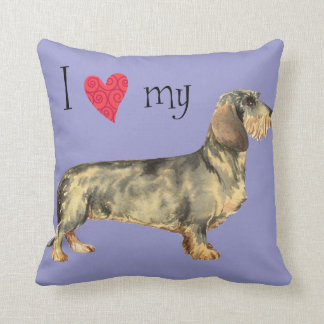 I Love my Wirehaired Dachshund Throw Pillow