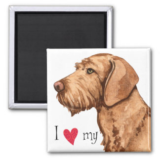 I Love my Wirehaired Vizsla Square Magnet