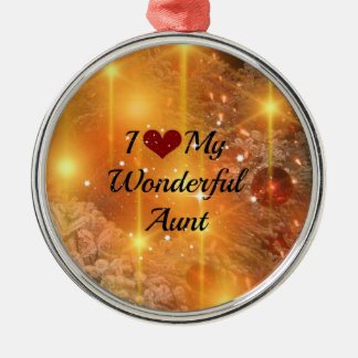 I Love My Wonderful Aunt - Christmas Golden Glow Silver-Colored Round Decoration