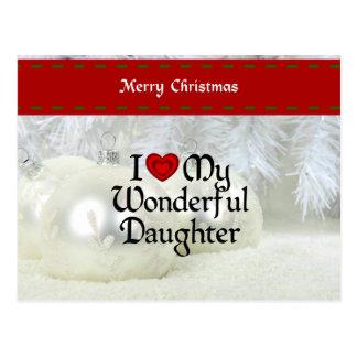 I Love My Wonderful Daughter, Christmas Design Postcard