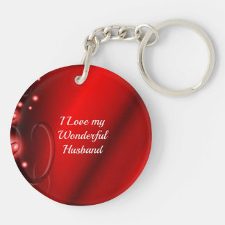 I Love My Wonderful Husband Double-Sided Round Acrylic Key Ring