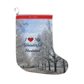 I Love My Wonderful Husband Large Christmas Stocking
