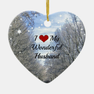 I Love My Wonderful Husband - Snowy Winter Day Ceramic Heart Decoration