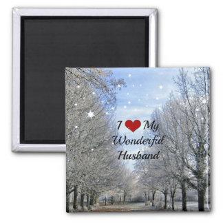 I Love My Wonderful Husband - Snowy Winter Day Square Magnet