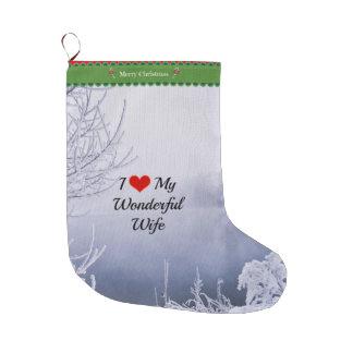 I Love My Wonderful Wife Large Christmas Stocking
