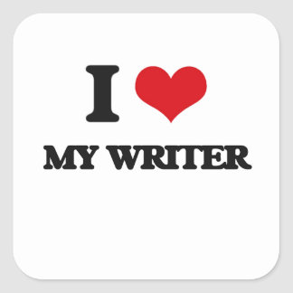 I love My Writer Square Stickers
