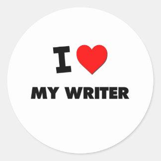 I love My Writer Round Stickers