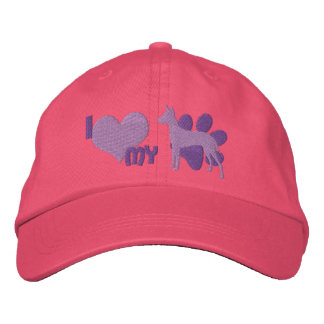 I Love my Xoloitzcuintli Embroidered Hat (Purple)