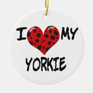 I Love My Yorkie Christmas Ornament
