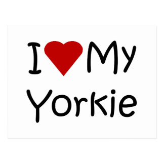 I Love My Yorkie Dog Breed Lover Apparel and Gifts Postcard