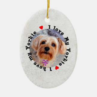 I love my Yorkie Female Yorkshire Terrier Dog Christmas Ornament
