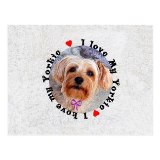 I love my Yorkie Female Yorkshire Terrier Dog Postcard