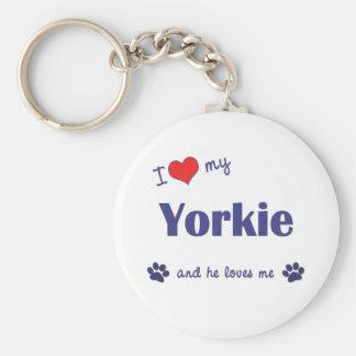 I Love My Yorkie (Male Dog) Key Ring