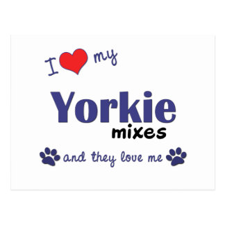 I Love My Yorkie Mixes (Multiple Dogs) Postcard