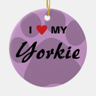 I Love My Yorkie Pawprint Christmas Ornament