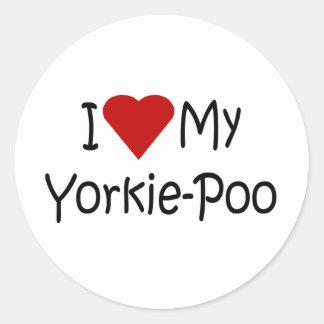 I Love My Yorkie-Poo Dog Breed Lover Gifts Round Sticker