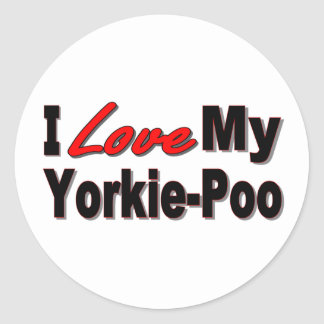 I Love My Yorkie-Poo Dog Gifts and Apparel Stickers