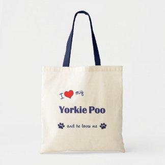 I Love My Yorkie Poo (Male Dog) Tote Bag