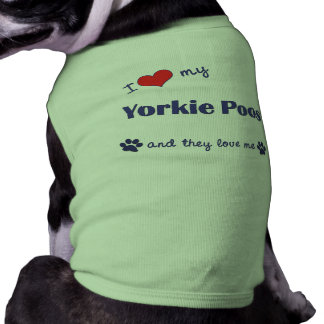 I Love My Yorkie Poos (Multiple Dogs) Sleeveless Dog Shirt