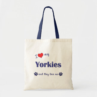 I Love My Yorkies (Multiple Dogs) Tote Bag