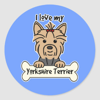I Love My Yorkshire Terrier Classic Round Sticker