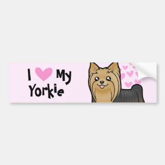 I Love My Yorkshire Terrier (long hair no bow) Bumper Sticker