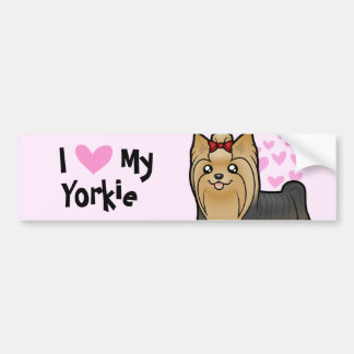 I Love My Yorkshire Terrier (long hair with bow) Bumper Sticker