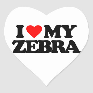 I LOVE MY ZEBRA HEART STICKER